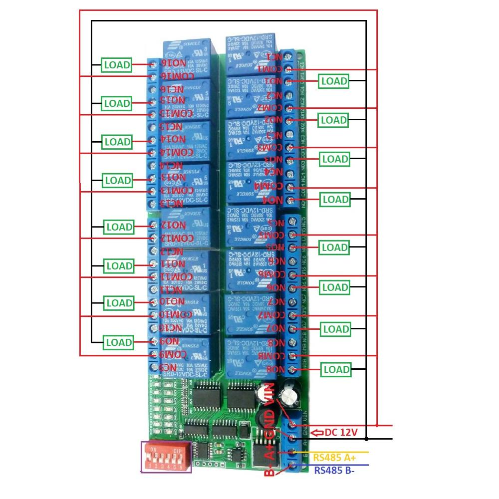 Details about 16CH 12V Modbus RTU RS485 Relay Module Switch Board for on
